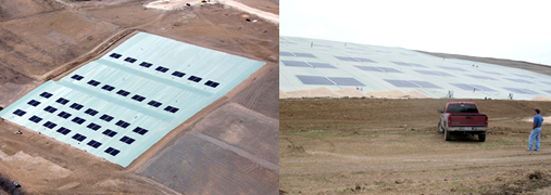 Aerial and ground views of solar pods.