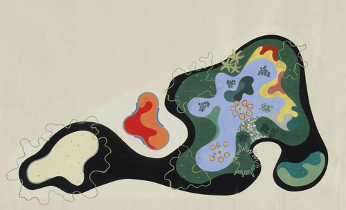 "Roberto Burle Marx. Garden Design Saenz Peña Square, Rio de Janeiro, Brazil, Plan, 1948. Gouache on paper, 24 3/8 x 40"" (61.9 x 101.6 cm). The Museum of Modern Art, New York."
