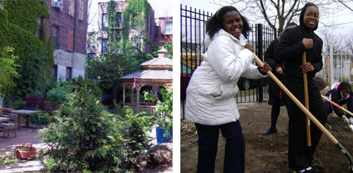 Left: All People's Garden in the Lower East Side, where project organizers hope to remove cement, debris and replant trees and shrubs. Right: A project in the Rockaways seeks ioby support to design and construct rainwater catchment systems and educate volunteers about stormwater management.