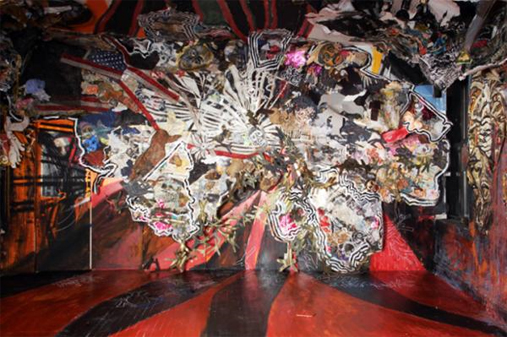 Abigail DeVille, Original Ganstas, 2008, mixed-media collage, 12 × 20 feet.
