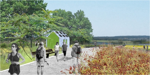 A rendering of the composting toilet comfort station at North Park, to be built within the next two years.