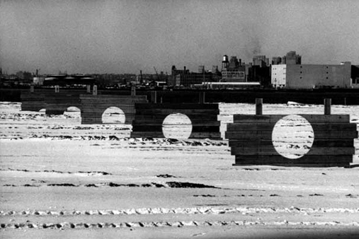 A large-scale 1973 installation at the Battery Park Landfill, now Battery Park City.