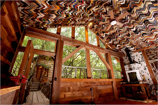 Phillips' company built this cieling for a low-income house in Huntsville, Texas out of thousands of picture frame corners.