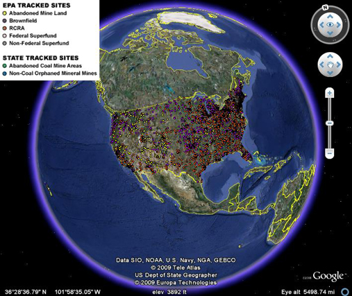 The Renewable Energy Interactive Mapping Tool on Google Earth allows users to locate EPA renewable energy siting on contaminated or mining land and to search via contaminated land type or renewable energy type.