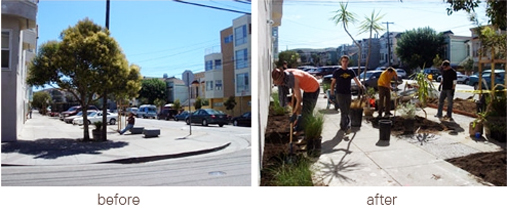 A permeable landscaping project organized by PlantSF in San Francisco's Mission District